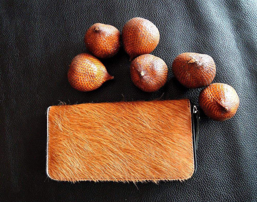 TAN COWHIDE WALLET for Women, Tan Calf Hair Purse, Pony Hair Wallet, Tan Travel Wallet, Passport Wallet w/ Zipper. Full Lamb Leather Lining.
