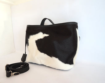 Cow Hide Hair Tote in Black White Calf Hair HandBag