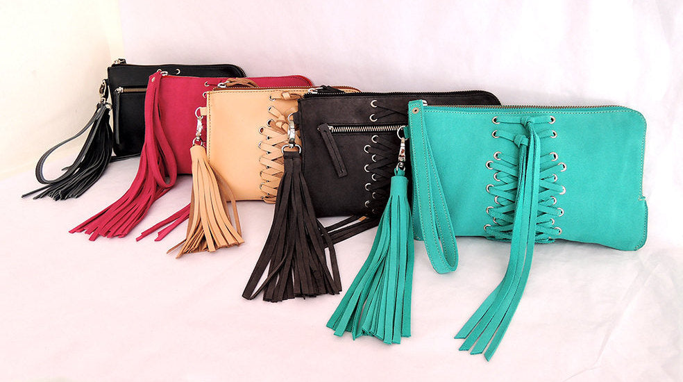 FRINGE TASSEL CLUTCH Purse. Great Leather Wallet w/ Hand Weave Cross Detail