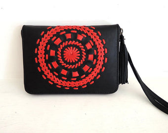 RED WALLET for Men & Women. Handmade Wallet in Black Sheep Lambs Leather