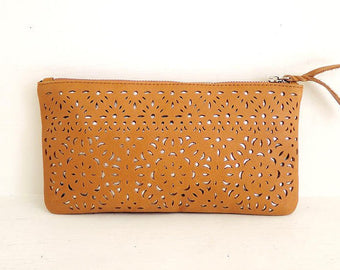 HAND TOOLED LEATHER IPhone Case Wallet in Tan w/ Silver Lining, Florals. In 10 Colors