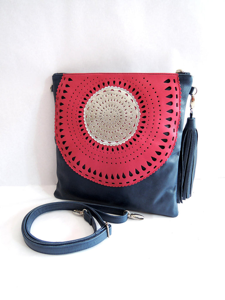 Hand Tooled Leather Purse w Tassel. HAND TOOLED LEATHER Bag Folds Into Clutch Purse Gorgeous Contrast Colors CrossBody Women/'s Bag