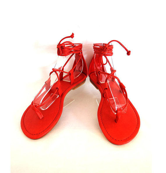 LEATHER SANDALS Lace Up Shoes. Greek Sandals Casual, Summer Sandals