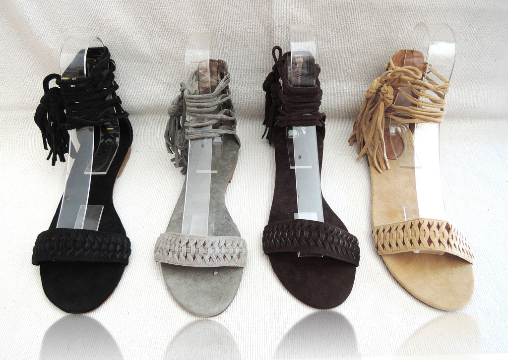 SUEDE SANDALS with Tassels. Lace up Sandals w/ Handmade Chinese Knot