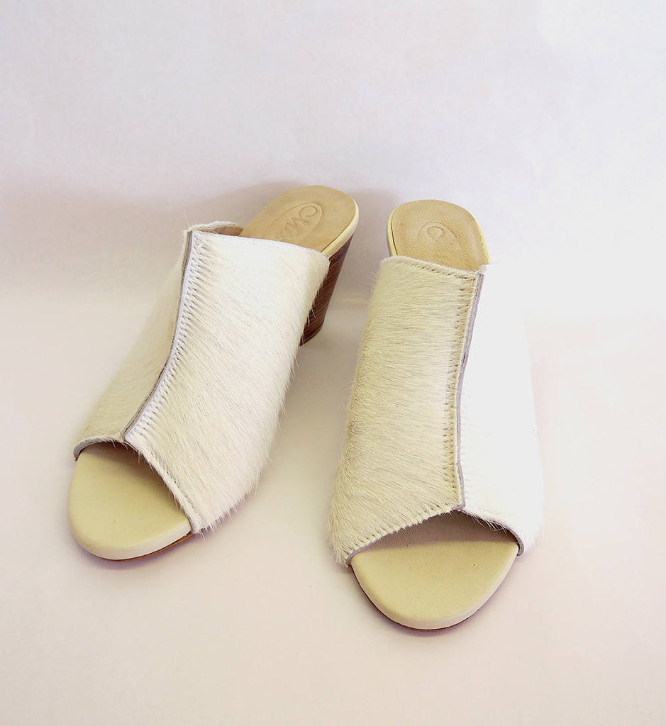 c1c3df9284b LEATHER SLIDES SHOES in Cow Hide Hair. Calf Hair Furry Sandals