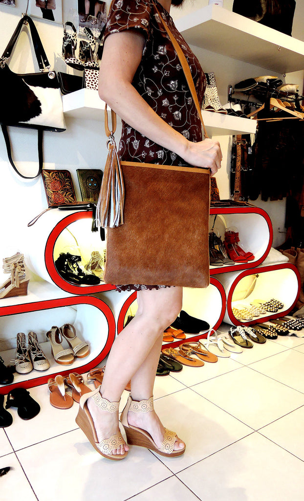 DARK TAN COWHIDE Tote Bag w/ Leather Tassels, Hand Woven Leather TrimBag.
