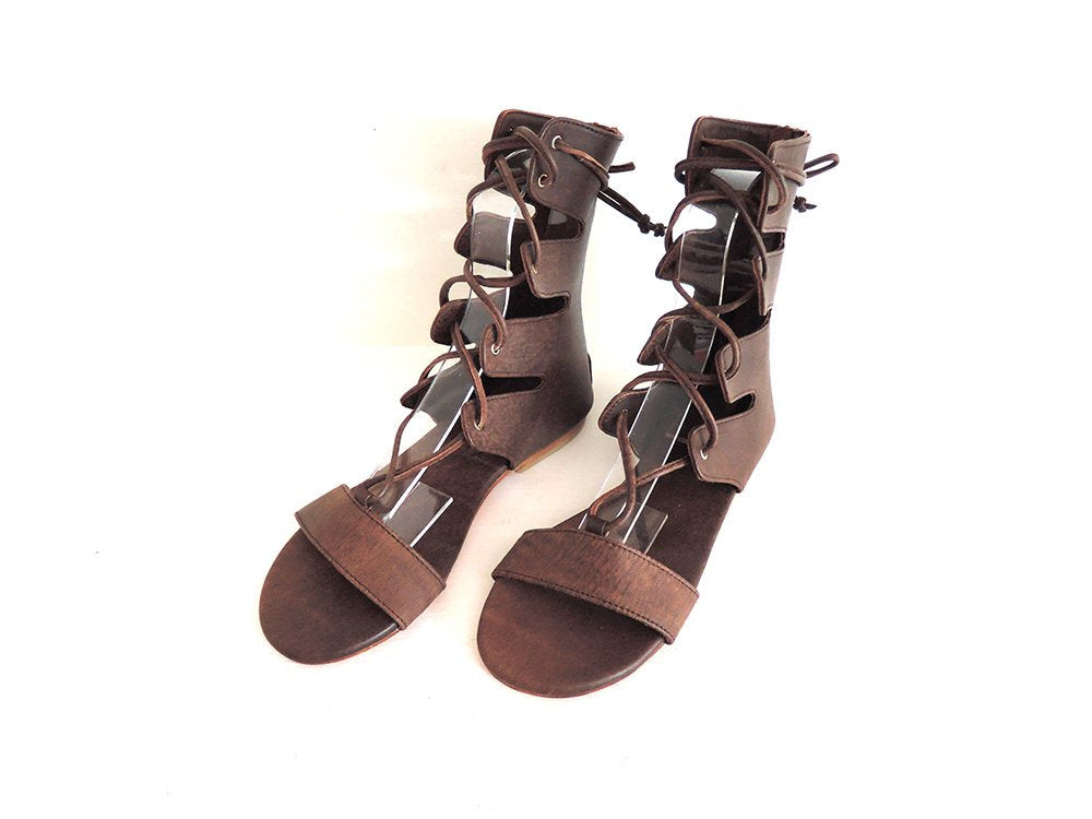 BROWN LEATHER SHOES / Gladiator Sandals Women / Lace Up Sandals