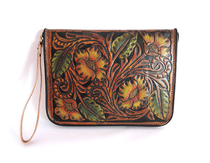 TOOLED LEATHER WALLET, Beautifully Hand Carved/Painted Clutch/Purse, Vegetable Tanned