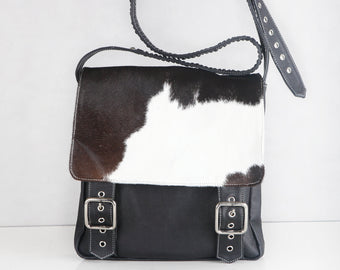 BLACK COWHIDE BAG Leather Satchel Bag Crossbody Bag
