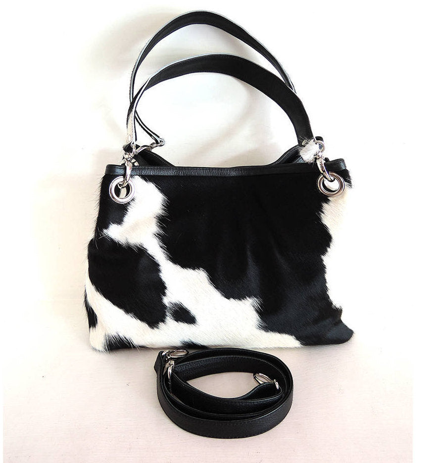 DESIGNER BAG, COWHIDE Handbags / Cowhide Shoulder Bag / Black White