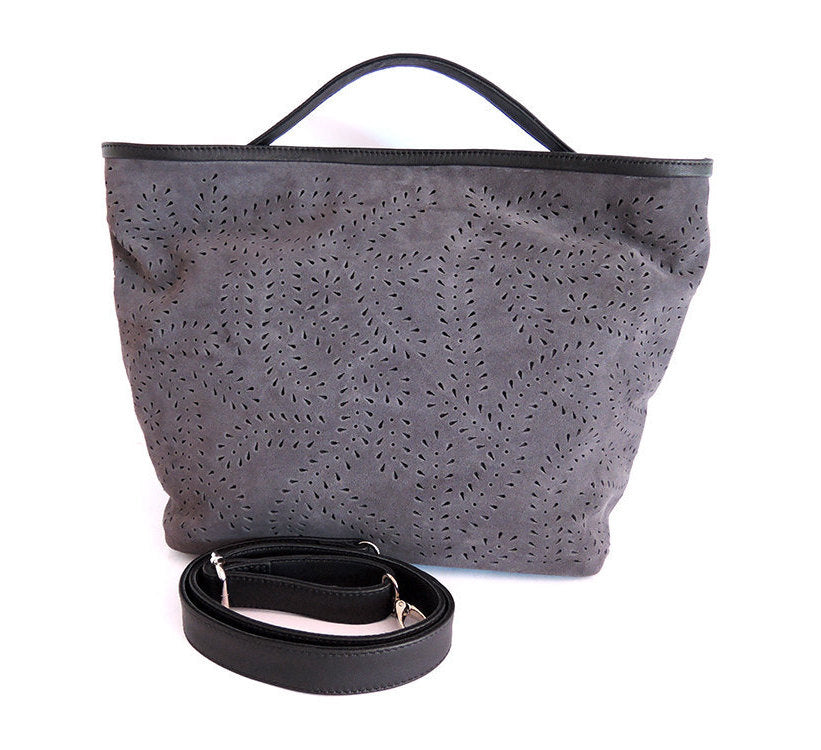 GRAY SUEDE TOTE Bag w/ HandTooled Autumn Leaf Design. Super Soft.