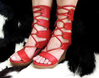 RED GLADIATOR LEATHER HEELS