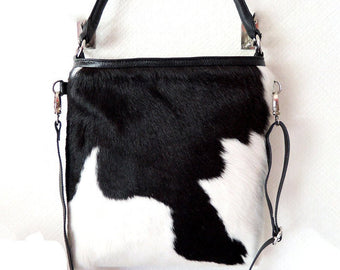 COWHIDE LEATHER PURSE / Softest Calf Hair Leather Tote Bag