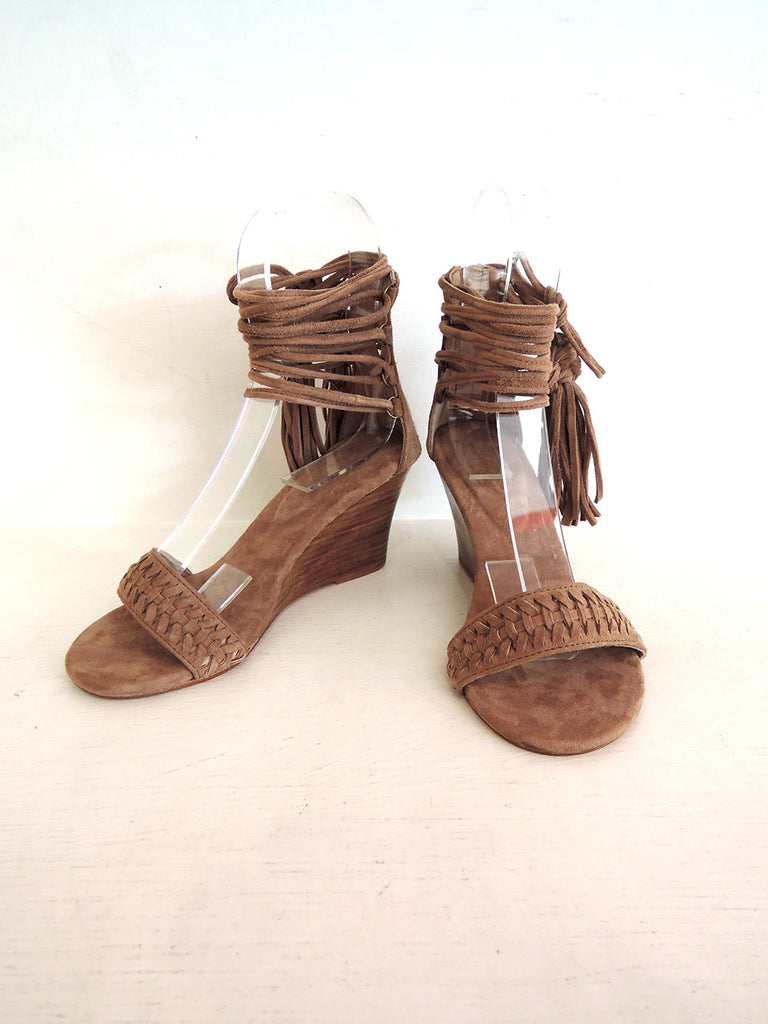 SUEDE SANDALS, DESIGNER Shoes, Handmade Fringe Tassels Wedge Shoes