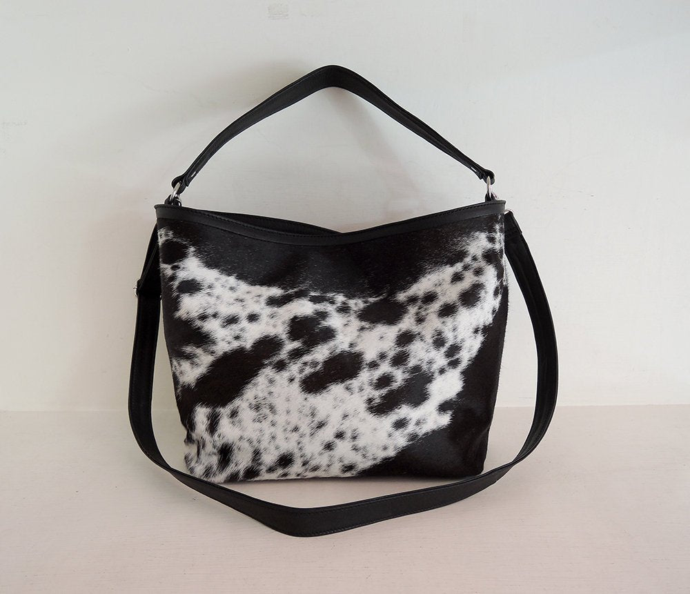 COWHIDE HANDBAG / Cowhide Bag. Speckled Black White Sling Bag