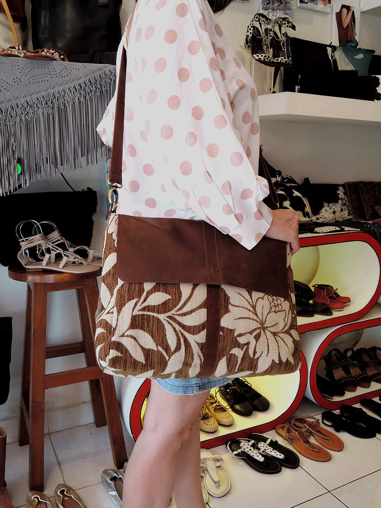 Brown Antique Leather and Brown Flower Canvas in Messeger Bag.