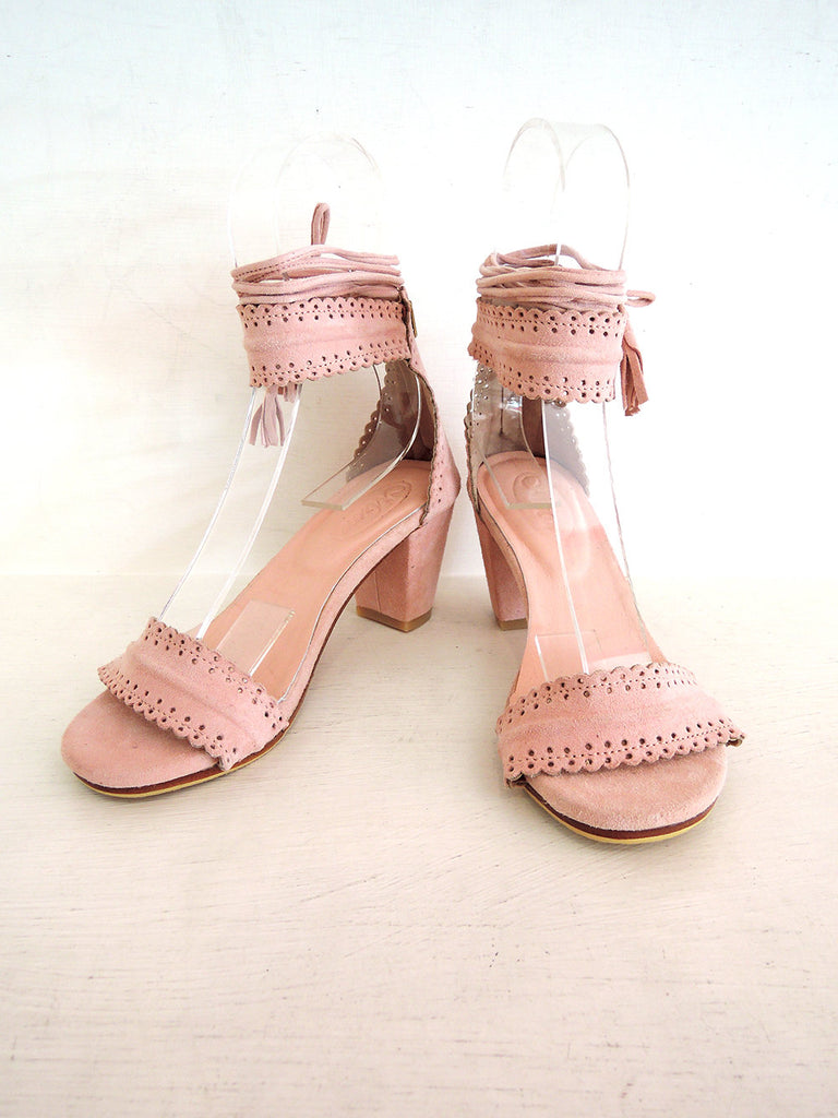 BLOCK HEEL SHOES HandMade Scallop Suede Shoes Leather Heels