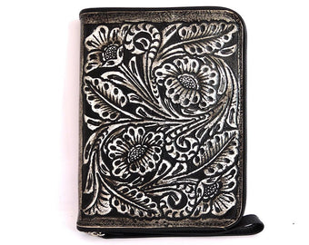 WOMENS WALLET HANDCARVED /  Beautifully Hand Tooled Clutch Vegetable Tanned. Wallet Zipper
