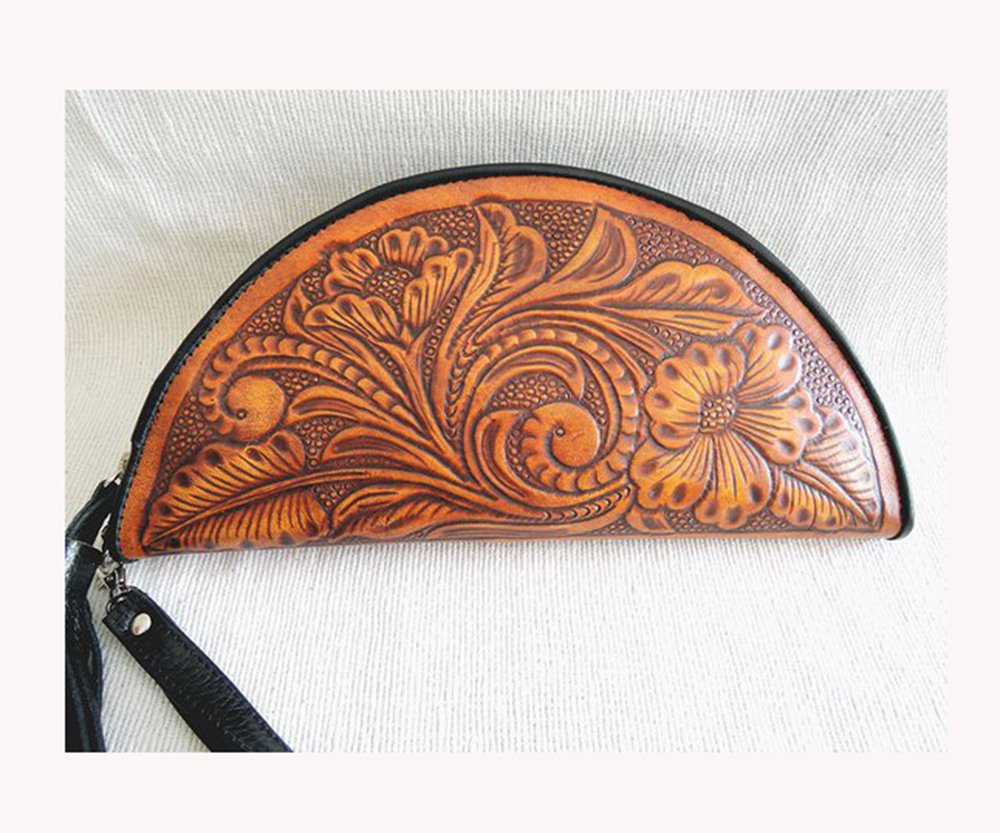 HANDTOOLED LEATHER CLUTCH in Victorian Floral, Mohican in Tan Saddle. Calestial