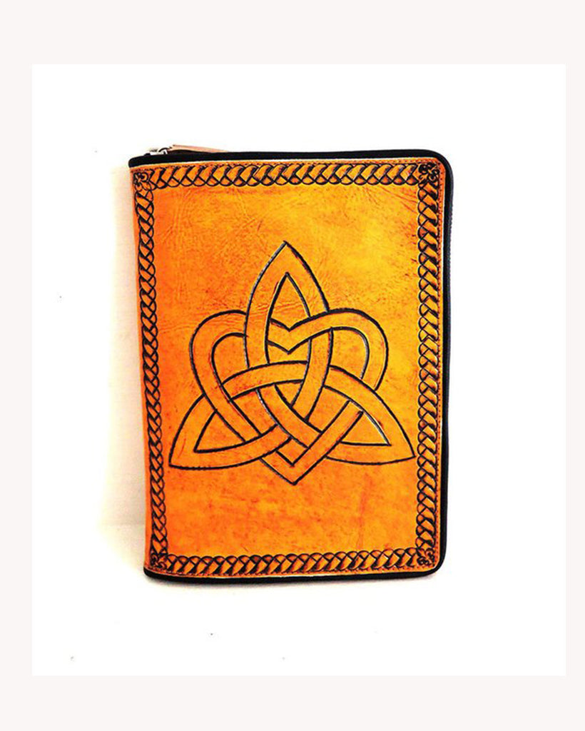 LEATHER JOURNAL BOOK Cover / Planner in Vintage Camel Hand Tooled Celtic