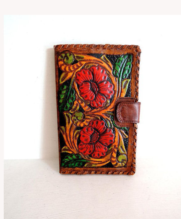 LEATHER HANDTOOLED WALLET /  Hand Carved Leather Clutch Vegetable Tanned. Antique Wallet