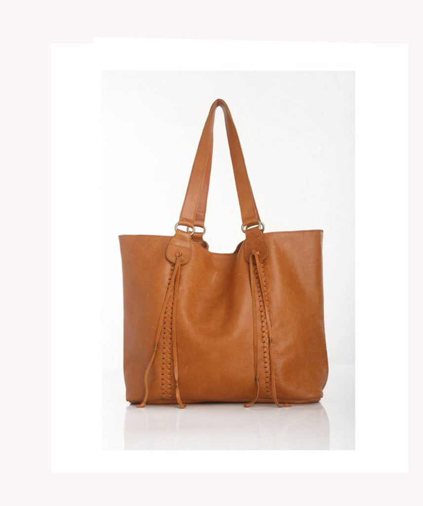 WEEKENDER BAG / OVERNIGHT Bag. Stephanie Tan Bag w/ Gorgeous Hand Weave Trim