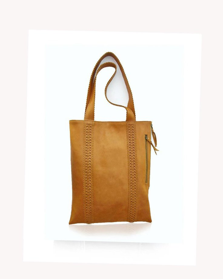 SHOULDER BAG with Hand Woven Trim & Scallop Straps in Genuine Tan Leather Tote Bag