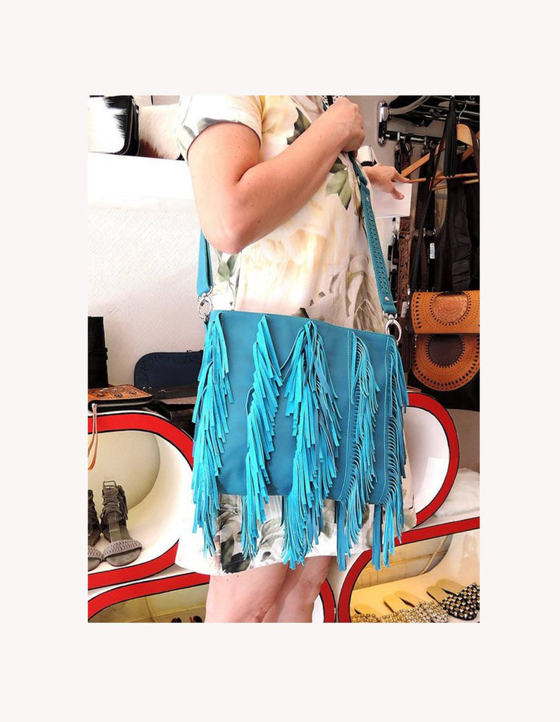 FRINGE BAG FESTIVAL Bag, w/ Raw Leather Tassels. Audrey Boho Bohemian Purse