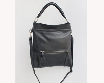 TOTE BAG LEATHER / Black Shoulder Purse / Crossbody Bag, Casual Short & Long Straps.