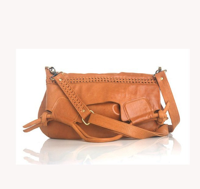 CROSSBODY BAG LEATHER / Tote Bag / Shoulder Bag w/ Hand Weave Detail