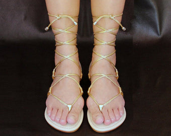 GOLD STRAPPY SANDALS in Genuine Metallic Leather / Gold Gladiators, Lace up Flats