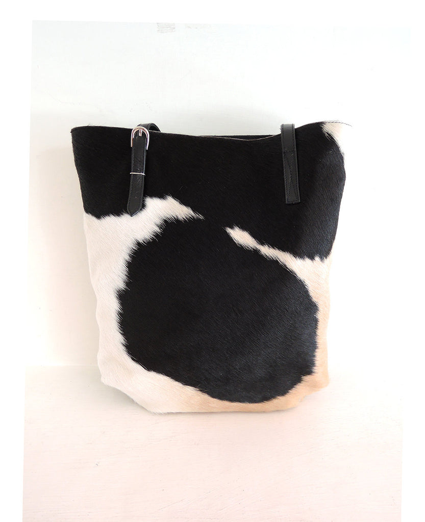 COWHIDE TOTE BAG Black and White, Western Purse, Hair on Hide Bag