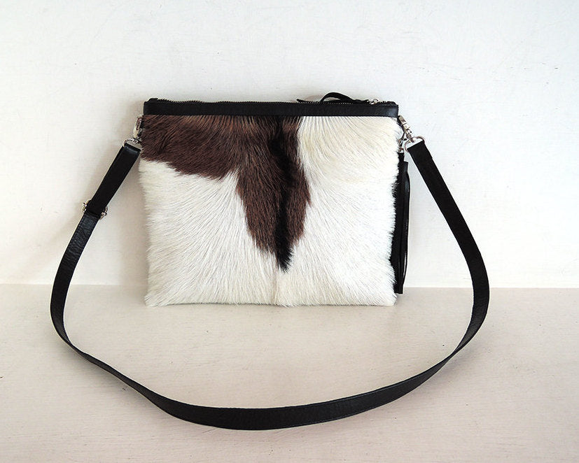 BROWN AND WHITE Cowhide Purse, Small Cowhide Clutch
