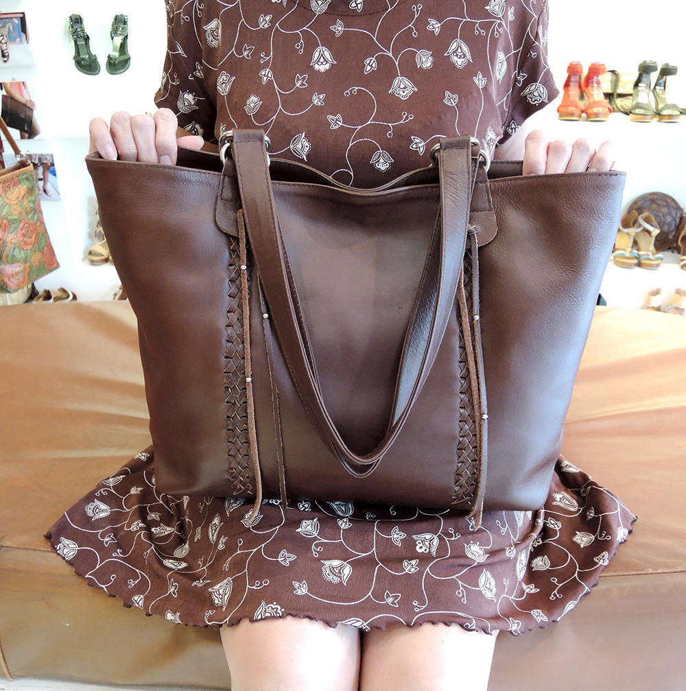 BROWN COWHIDE BAG, Market Bag, Laptop Bag w/ HandMade Weave
