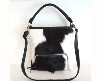 COWHIDE PURSE, COWHIDE Bags, Black and White Cowhide Texas Style