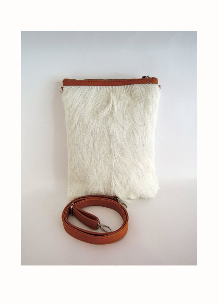 WHITE CALF HAIR Tote Bag / Cross body Sling Purse in Goat Hide Hair