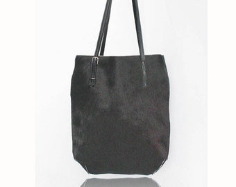 COWHIDE BLACK TOTE Bag in Calf Hair / CowHide Bag