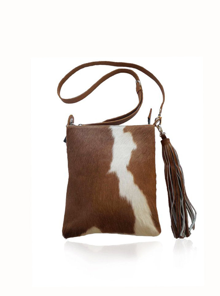CROSSBODY BAG WOMEN / Calf Hair w/ Leather Tote Bag, Hand Tooled