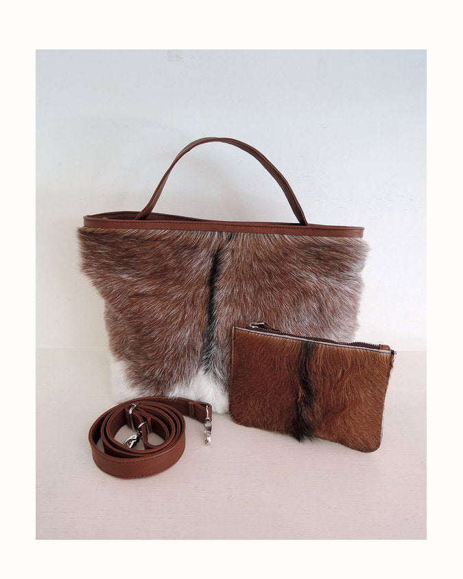 BROWN COWHIDE HANDBAG, Cowhide Purse, Fur Bag, Country Tote