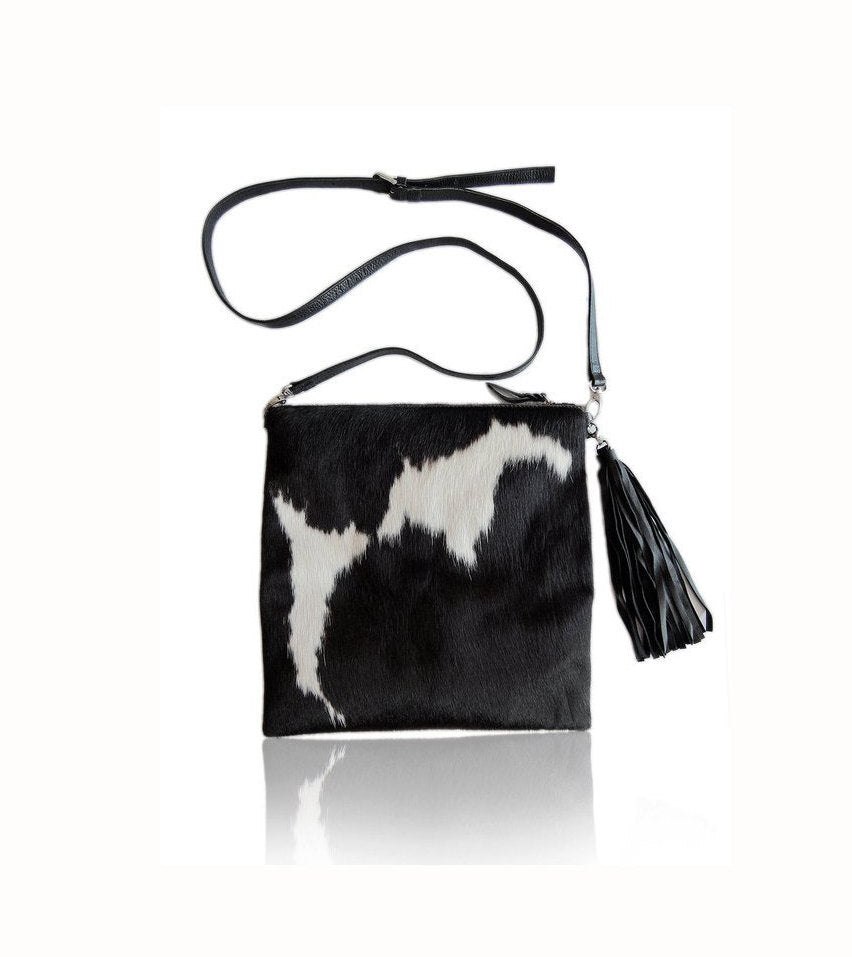 COWHIDE PURSE / COW Hide Bag, Black White Hair on Hide HandBag