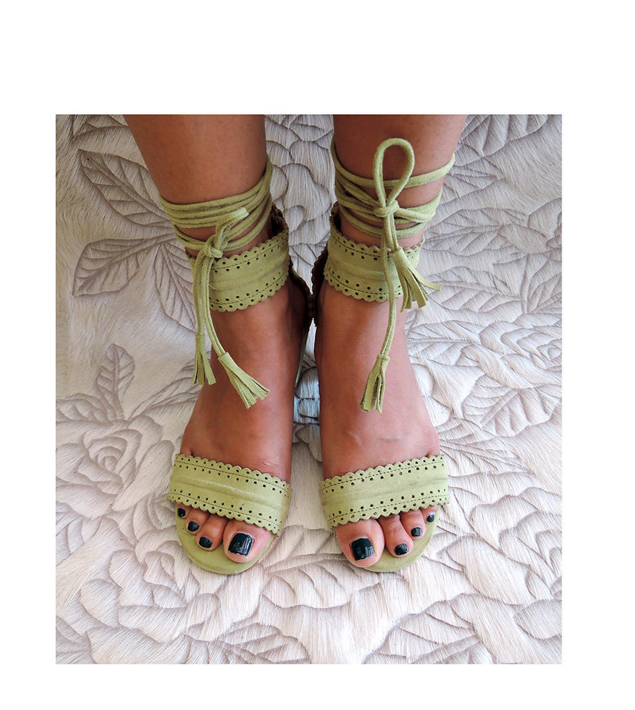 GREEN SHOES Women, BOHEMIAN Suede Shoes, Block Heel Laura Wedding Shoes