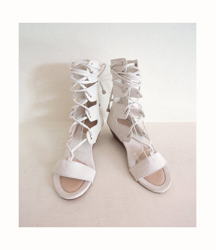SUEDE WEDDING SHOES / Scallop Lace Up Shoes / Wedge / Platform Sandals