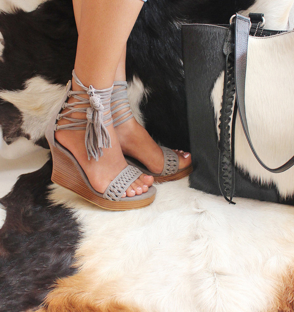 TIFFANY PLATFORM SHOES. Suede Fringe Strappy Sandals w/ Handmade Chinese Knot Tassels