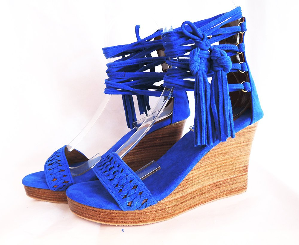 a0caecc6fe70 ... PLATFORM SHOES Blue Suede. Platform Heels w  Handmade Chinese Knot Lace  up shoes ...