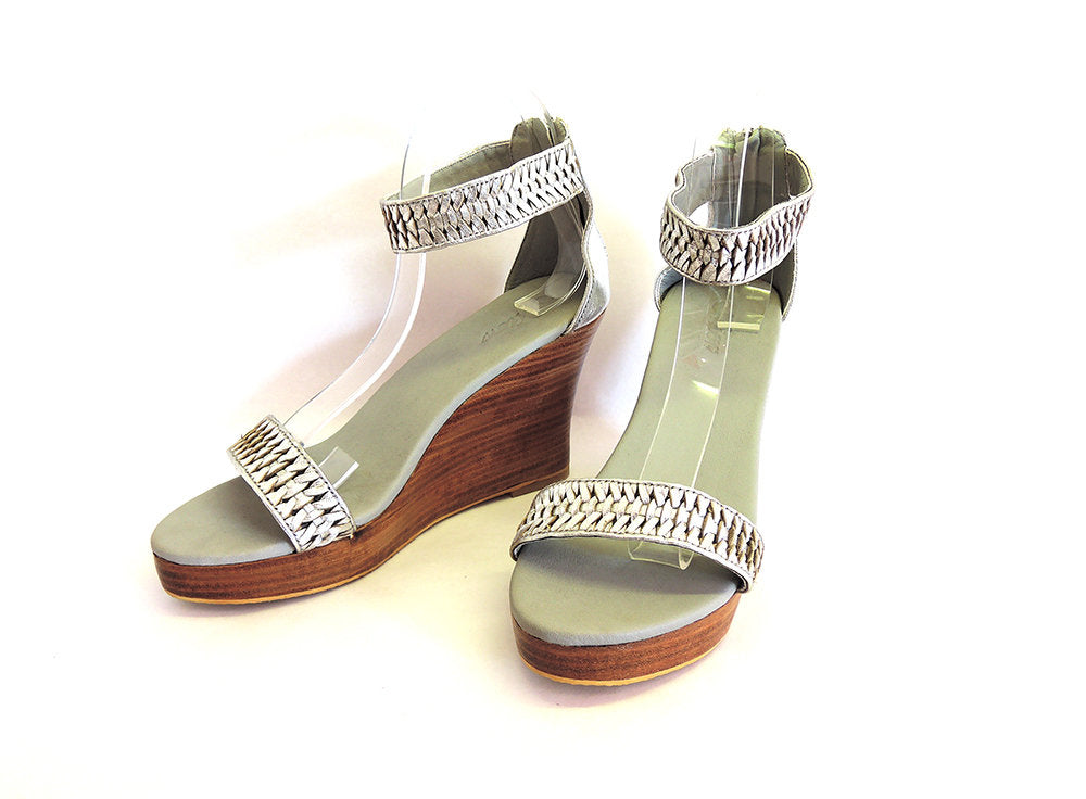 SILVER WEDDING SHOES. Platform Heels w/ Handmade Weave. Bridesmaids Shoes