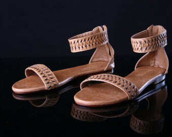 FLATS SANDALS, TAN Leather Sandals Handmade Sandals w/ Woven Straps