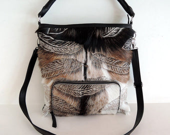 COWHIDE PURSE HAND Carved Leather Bag, Leather Bag in Tribal Feathers