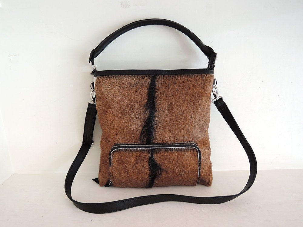 CALF HAIR LEATHER Tote Bag / Top Handle Bag in Brown