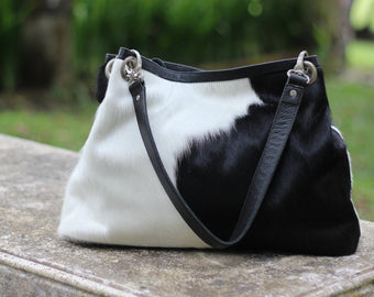 COWHIDE LEATHER LAPTOP BAG, Black and White, Animal Print Hide