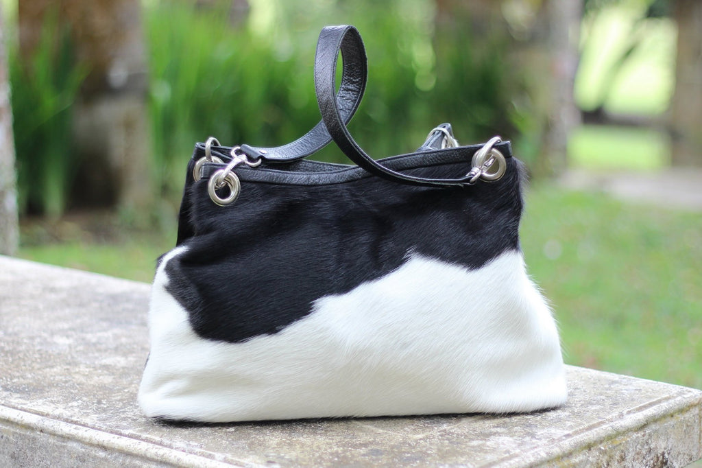 BLACK WHITE CALF Hair Bag Womens HandBag w/ Leather Straps.